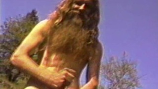 Hippy sucks his own cock outdoors