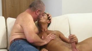 Daddy John jerking off younger lover