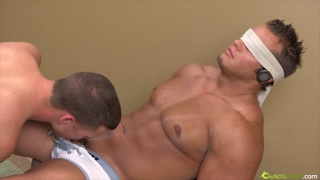 Blindfolded stud gets edged
