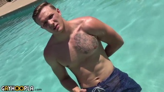 blond jock strokes his huge cock in first video