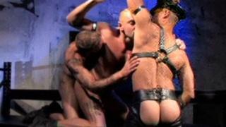 Three rough, rugged and hung porn stars fuck