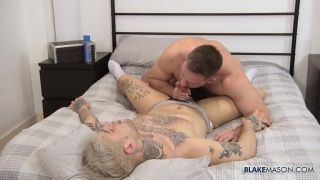 bearded ginger fucks screws an inked bottom into the mattress