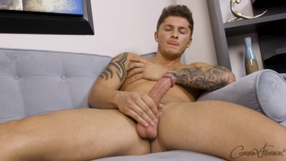 inked bad boy jerks his thick cock