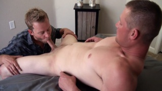 straight top bends gay guy over the bed for a fuck