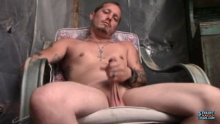 sexy straight guy with chin scruff jacks his cock