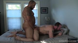 chubby guy with big belly fucks a hairy bear's ass