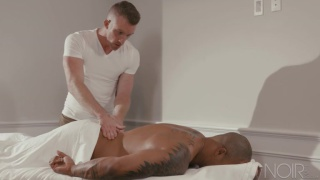 black hunk gets a rubdown then grabs the masseur's ass