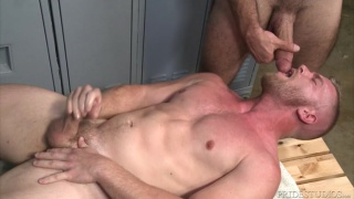 guy gets face fucked on locker room bench while jacking off