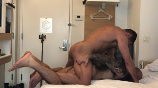 hairy man gets his ass pumps by muscle top