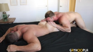 beefcake hunk eats out muscle dude's ass before fucking it