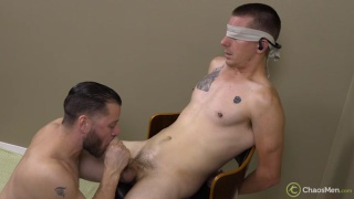 blindfolded straight guy gets his fat cock sucked