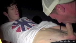 guy in baseball cap sucking dick at a glory hole