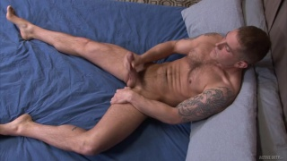 stud strokes his meat slowly so we can see just how big it is