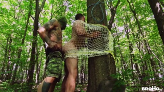 hunk caught in net gets fucked in the forest