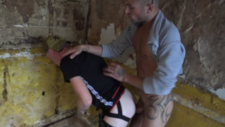 hung french man bends guy over in dilapidated building & fucks him