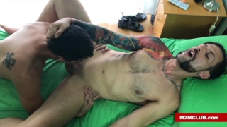 bearded & inked spaniard gets sucked off