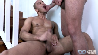 brazilian stud sitting on stairs sucking dick, then he gets fucked