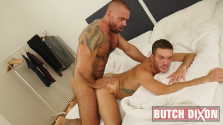 inked hunk fucks bottom until he begs him to stop