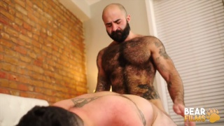 hairy muscle bear slides in deep and pounds man's ass hard