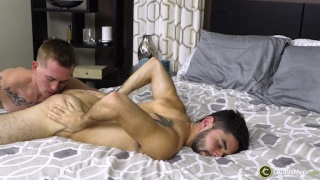 inked stud from texas eats our a short guy's ass before anal sex