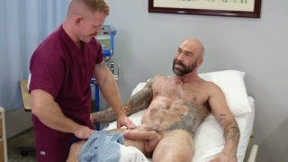 Handsome Nurse Can't Resist Sucking Patient's Huge Cock