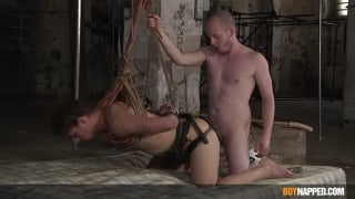 Slave Boy Bound in Doggy-Style Position