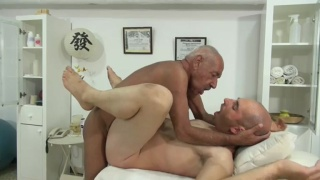 Grey-Haired Daddy Pulls out His Nice Thick Big Dick