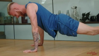 Blond Muscled Brit Does Push-ups Before Masturbating