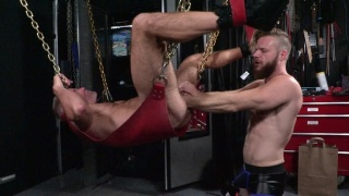 Silver Daddy & His Bearded Boy Fisting Each Other in Sling
