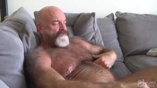 Hairy Daddy with White Beard Strokes His Cock