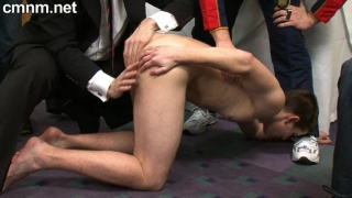 young athlete Steven manhandled by clothed men