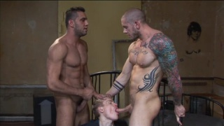 Two Muscle Men Boning a Blond