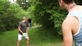 jack-off pranksters pick up a guy in the park
