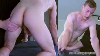 straight boy down on all fours getting his dick stroked