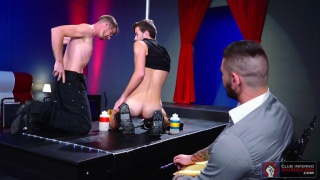 business watches two erotic dancers then fists them
