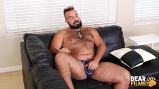 sexy bearded hairy man jacks his dick