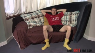 british guy in yellow athletic socks jacks off