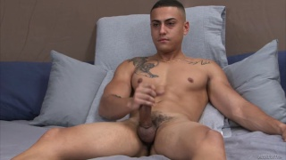 sexy guy with ripped body jacks off in first solo