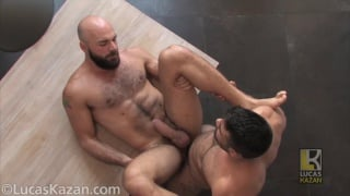 sexy bald & bearded man gets his beefy ass fucked