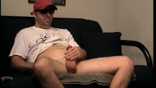 construction worker jacks his cock and shoots a warm cum load