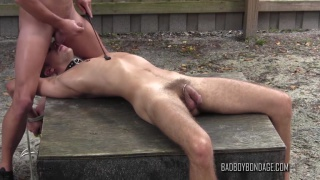 master finally empties his balls all over his whipped slave boy