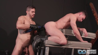 tops finds bottom gagged & blindfolded & bound to a leather bench