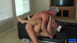 silver daddy fucks a cute stud with his fat dick