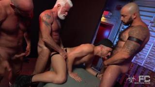 three daddies share this very horny bottom's hole