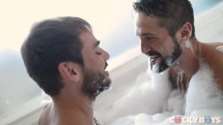 guys make out like honeymooners in a bubble bath