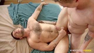 guy gets caught jacking off & jumps on his stepbrother's cock
