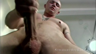 bald inked marine pulls his long cock