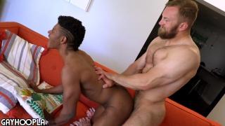 hairy bearded hunk fucks a black guy's ass