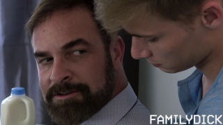 young lad gives his stepfather a neck massage