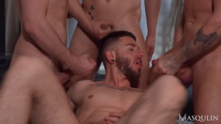 four men comes together in hotel room for an orgy